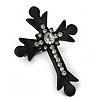Large Black Tone Metal and Swarovski Crystal 'Fleur de Lis' Cross Statement Stretch Ring - 50mm Length - Size 7/8