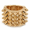 Gold Plated 'Spiky' Wide Band Stretch Ring - 18mm Width - Size 8/9