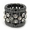 Wide Clear Swarovski Crystal Flex Band Ring In Gun Metal Finish - 20mm Width - Size 7/8