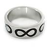 Rhodium Plated Black Enamel 'Infinity' Band Ring - Size 7