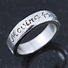Rhodium Plated 'Moving forward never looking back' Engraved Ring - Size 8