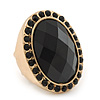 Oval, Black Faceted Glass Stone Flex Ring In Gold Plating - 35mm Across - Size 7/8
