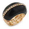 Black Enamel Dome Shaped Stretch Cocktail Ring In Gold Plating - 2cm Length - Size 7/8