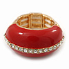 Red Enamel Dome Shaped Stretch Cocktail Ring In Gold Plating - 2cm Length - Size 7/8