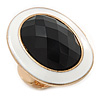 Oval, White Enamel With Black Glass Stone Flex Ring In Gold Plating - 35mm Across - Size 7/8