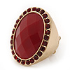 Oval, Red Faceted Glass Stone Flex Ring In Gold Plating - 35mm Across - Size 7/8