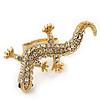 Gold Plated Sculptured Crystal 'Gecko' Statement Ring - Adjustable - Size 7/8 - 4.5cm Length