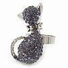 Rhodium Plated Violet Swarovski Crystal 'Kittie' Ring - 35mm Length - Adjustable - Size 7/8