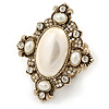 Vintage Inspired Oversized Oval, Crystal, Pearl Flex Cocktail Ring In Antique Gold Tone - 60mm L - Size 7/8