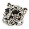 Statement Black/ Clear Swarovski Elements Crystals Tiger Head Ring In Silver Tone - Size 7 to 9 - Adjustable