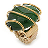 Vintage Green Resin Stone Wire Flex Ring In Burn Gold Finish - 35mm Across - Size 7/8