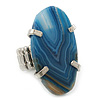 Blue Oval Shaped, Polished Quartz Stone Flex Ring In Rhodium Plating - 38mm Across - Size7/8