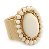 Milky White Ceramic Bead Oval Flex Ring In Brushed Gold Plating - 25mm Across - Size 7/8