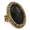 Statement Black Glitter, Oval, Mesh Flex Ring In Burnt Gold Tone - 43mm Across - Size7/8