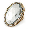 Statement Clear Glass Oval Flex Ring In Gold Tone - 48mm Across - Size7/8