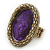 Statement Purple Glitter, Oval, Mesh Flex Ring In Burnt Gold Tone - 43mm Across - Size7/8