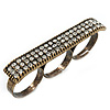 Vintage Pave-Set 'Plate' Three Finger Ring In Burn Gold Metal - Adjustable - 60mm Width