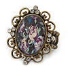 Vintage Diamante 'Floral' Cameo Flex Ring In Bronze Metal - 37mm Across - Size 7/8