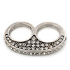 Vintage Pave-Set Diamante 'Knuckles' Double Finger Ring In Burn Silver - 45mm Width - Size 7/8