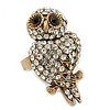 Vintage Style Swarovski Crystal 'Wise Owl' Cocktail Ring in Burnt Gold - Adjustable