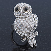 Vintage Style Swarovski Crystal 'Wise Owl' Cocktail Ring In Burnt Silver - Adjustable