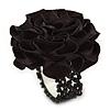 Black Silk & Glass Bead Floral Flex Ring - 40mm Diameter