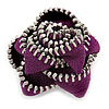 Large Purple Zipper Fabric Rose Ring With Silver Tone Wire Band - 45mm Diameter - 7/8 Adjustable