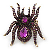 Oversized Amethyst Austrian Crystal Spider Stretch Cocktail Ring In Antique Gold Plating - 6cm Length