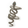 Wide Grey Austrian Crystal 'Coiled Snake' Double Band Ring In Rhodium Plating - 50mm Width - Size 8