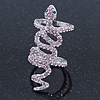 Wide Pink Austrian Crystal 'Coiled Snake' Double Band Ring In Rhodium Plating - 50mm Width - Size 8