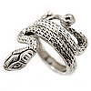 Vintage Inspired Sleek Textured 'Coiled Snake' Ring In Antique Silver Tone - Size 7
