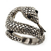 Vintage Inspired Textured 'Coiled Snake' Ring In Burn Silver Tone - Size 7