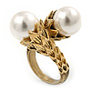 Vintage Inspired 12mm White Simulated Glass Pearl Floral Ring In Antique Gold Tone - Size 7