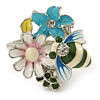 Multicoloured Enamel Flower and Bee Ring In Rhodium Plating
