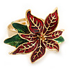 Christmas Dark Red/ Green Enamel Poinsettia Holiday Ring In Gold Plating - 30mm Across - Size 7/8