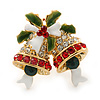 Christmas 'Jingle Bells' Red, Clear, Green Crystal, Enamel Ring In Gold Plating - 25mm Across - Size 7/8