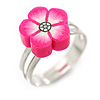 Children's/ Teen's / Kid's Deep Pink Fimo Flower Ring In Silver Tone - Adjustable