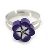 Children's/ Teen's / Kid's Purple Fimo Flower Ring In Silver Tone - Adjustable