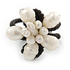 Cream Freshwater Pearl Flower Wire Band Ring  - Size 7/9 - Adjustable