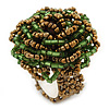 Bright Green, Golden Glass Bead Flower Stretch Ring - 35mm Diameter
