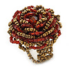 Red, Golden Glass Bead Flower Stretch Ring - 35mm Diameter
