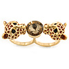 Brown Enamel, Crystal Two Head Jaguar Double Finger Ring In Gold Plated Metal - (Size 7/8) - 45mm Width