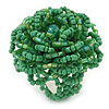 Apple Green Glass Bead Flower Stretch Ring - 40mm Diameter