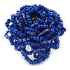 Blue Glass Bead Flower Stretch Ring - 40mm Diameter