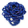 Blue Glass Bead Flower Stretch Ring - 40mm Diameter