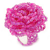 Pink Glass Bead Flower Stretch Ring