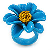 Light Blue/ Yellow Leather Daisy Flower Ring - 35mm D - Adjustable