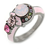 Multicoloured Cluster Crystal with Pink Enamel Ring In Gun Metal Tone