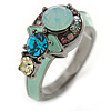 Multicoloured Cluster Crystal with Aqua Blue Enamel Ring In Gun Metal Tone