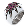 Statement Dome Shape White Enamel with Crystal Star Motif Band Ring In Black Tone